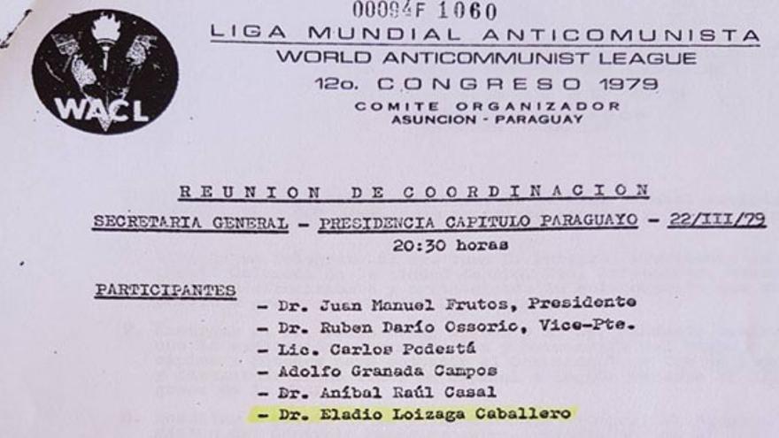 Eladio Loizaga, participante en la reunión de Coordinación del 12º Congreso de la Liga Mundial Anticomunista
