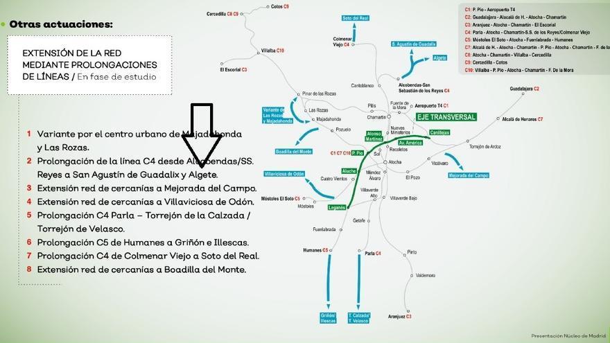 Detalle del Plan de Mejora de Cercanías en la que se habla de prolongar la C4 hasta Algete (Madrid)