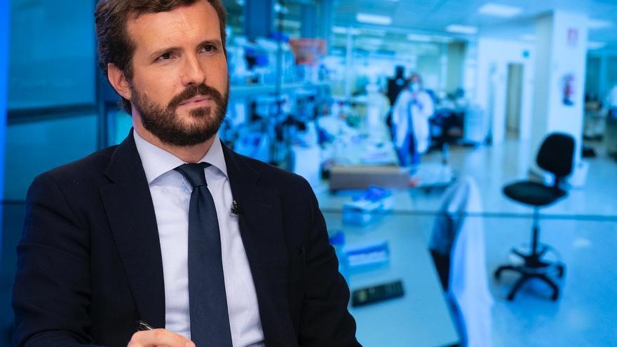 El líder del PP, Pablo Casado, ofrece una rueda de prensa tras decretar el Gobierno el estado de alarma en Madrid. En Madrid, a 9 de octubre de 2020.