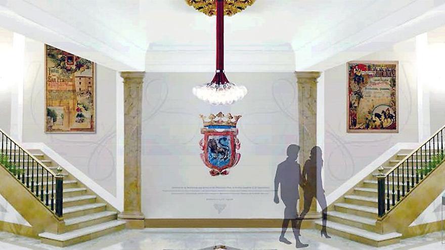 Nueva decoración del zaguán del Ayuntamiento de Pamplona