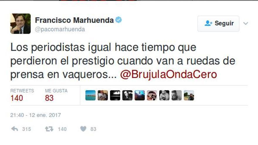 Tuit de Francisco Marhuenda.