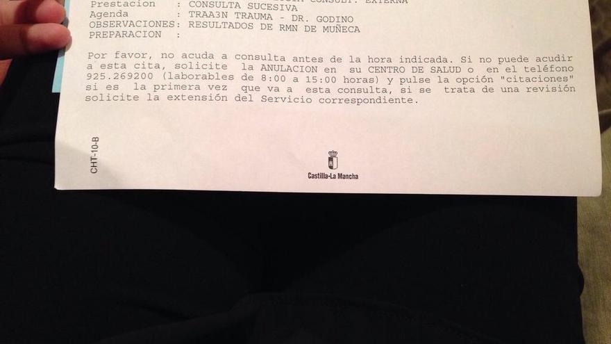 Cita para recoger en Castilla-La Mancha una prueba médica en octubre de 2016