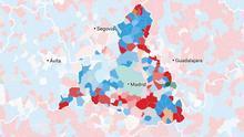 El PSOE recuperó la primera posición en buena parte de los municipios de Madrid.
