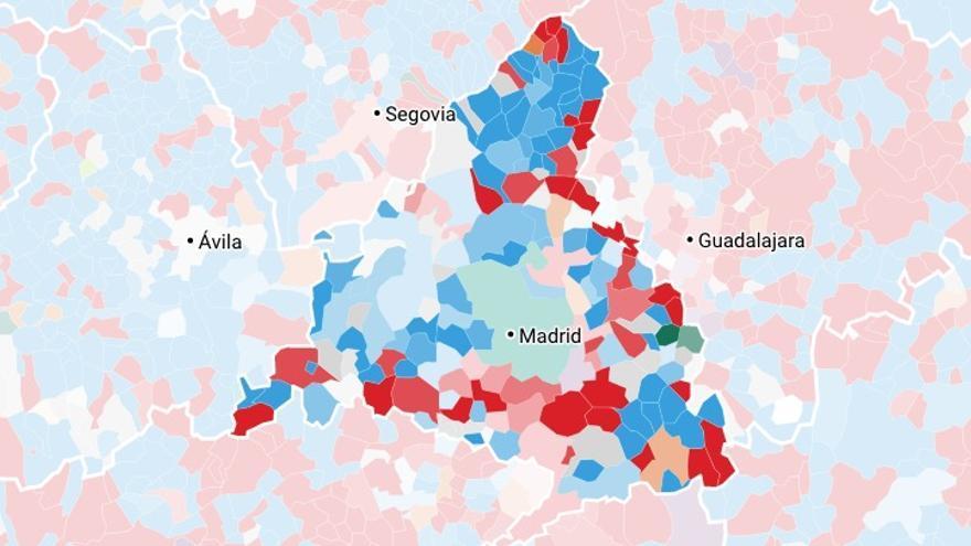Los resultados del 28A en Madrid, por municipio.