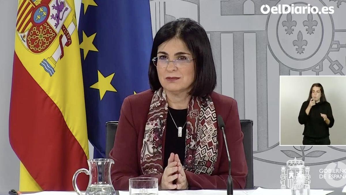 Carolina Darias, ministra de Sanidad, en rueda de prensa