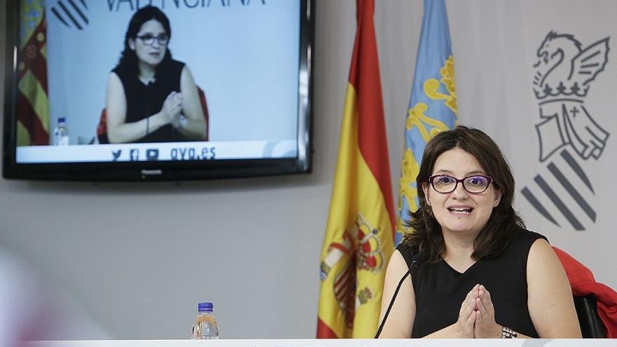 Mónica Oltra, durante la rueda de prensa de este viernes