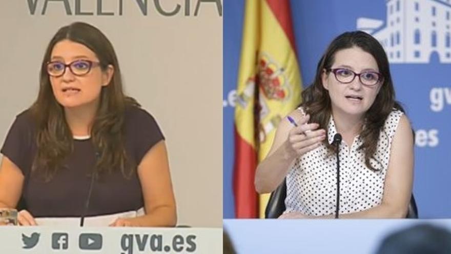 Imagen actual e imagen anterior heredada del gobierno del PP de la sala de prensa de la Generalitat