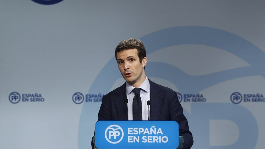 Pablo Casado, durante una rueda de prensa en Génova.