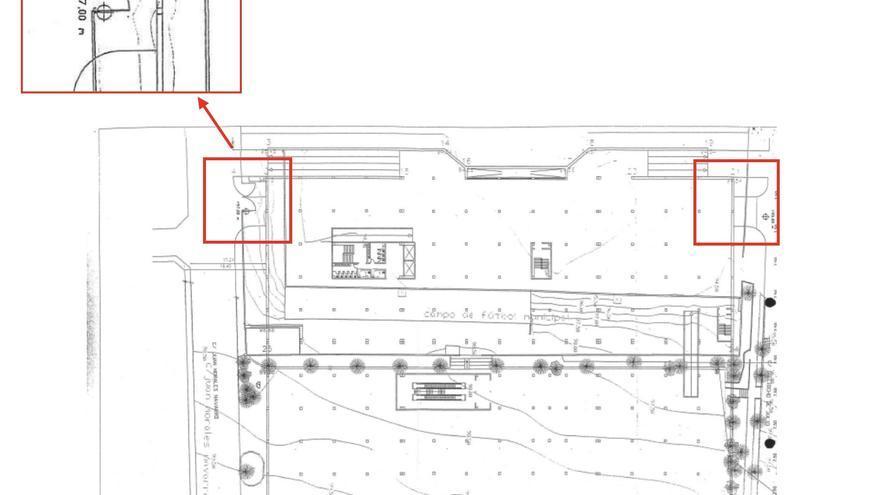 Plano de la planta -2. Se ve la ocupación de la calle dentro de los dos recuadros rojos