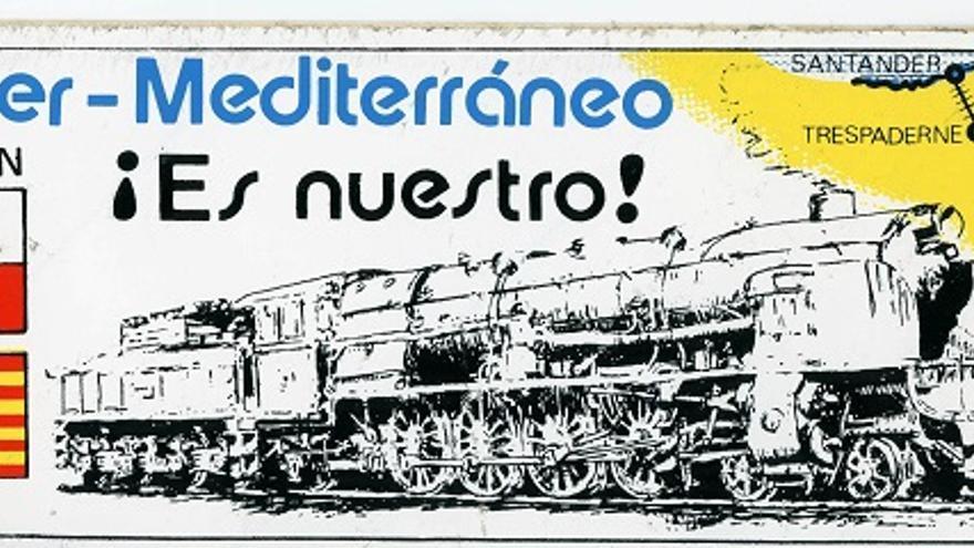 Pegatina reivindicativa del ferrocarril Santander-Mediterráneo. | DESMEMORIADOS