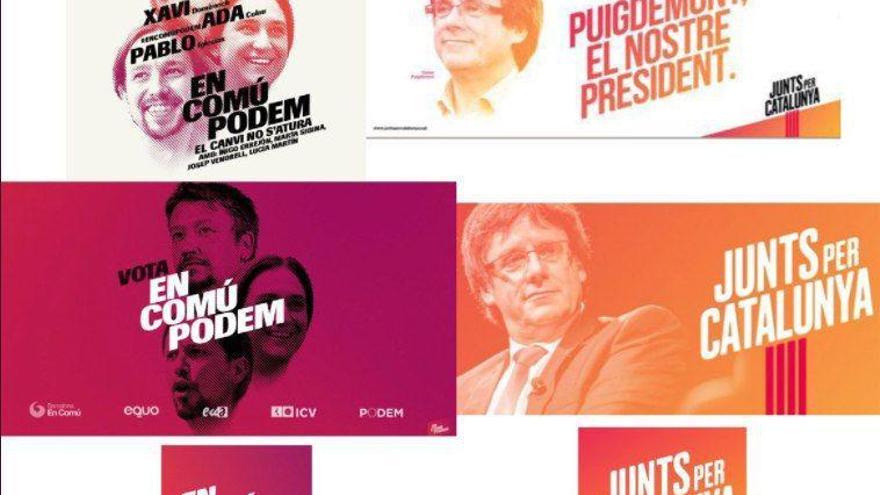 Carteles de En Comú Podem (2016) y Junts per Catalunya (2017)