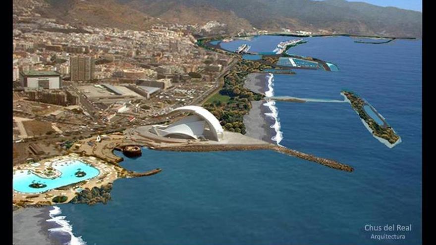 Fotomontaje expuesto por el arquitecto Chus del Real del frente litoral de Santa Cruz de Tenerife