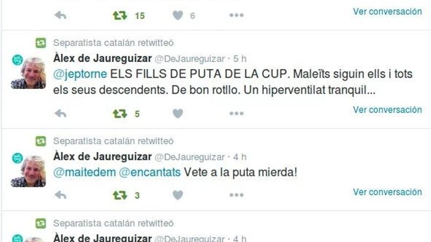 Captura de pantalla de los insultos que el exprofesor de la UB profirió a la CUP