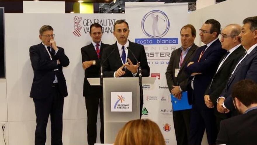 Imagen de la presentación de César Sánchez del torneo de golf de Benidorm en Londres