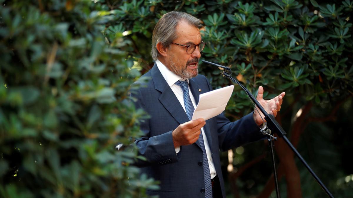 El expresident de la Generalitat Artur Mas durante la rueda de prensa