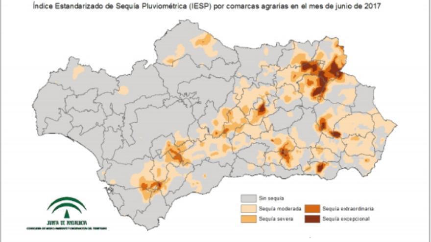 Índice estandarizado de sequía pluviométrica por comarcas en Andalucía