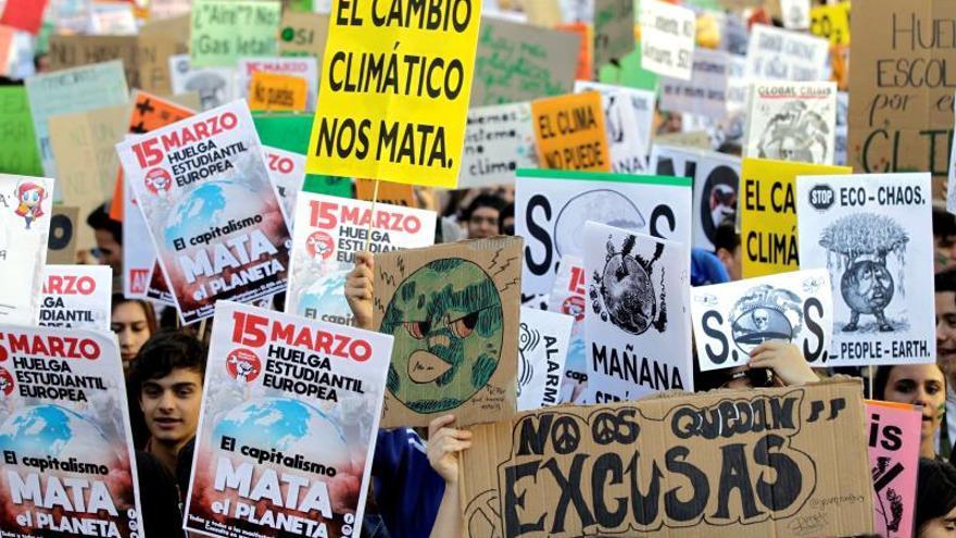 Manifestación de estudiantes españoles contra el cambio climático.