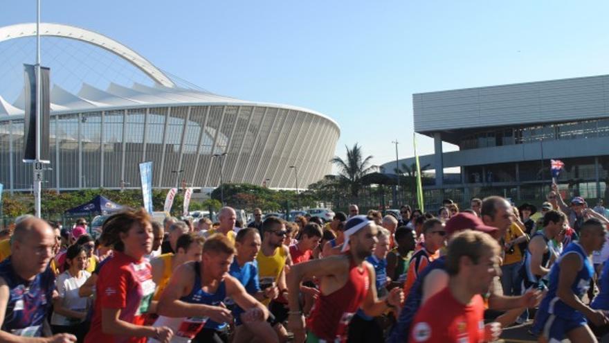 Salida de una prueba de atletismo en los Mundiales de Transplantados