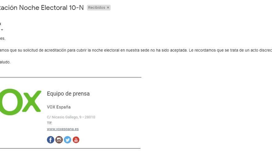 Veto de Vox a eldiario.es