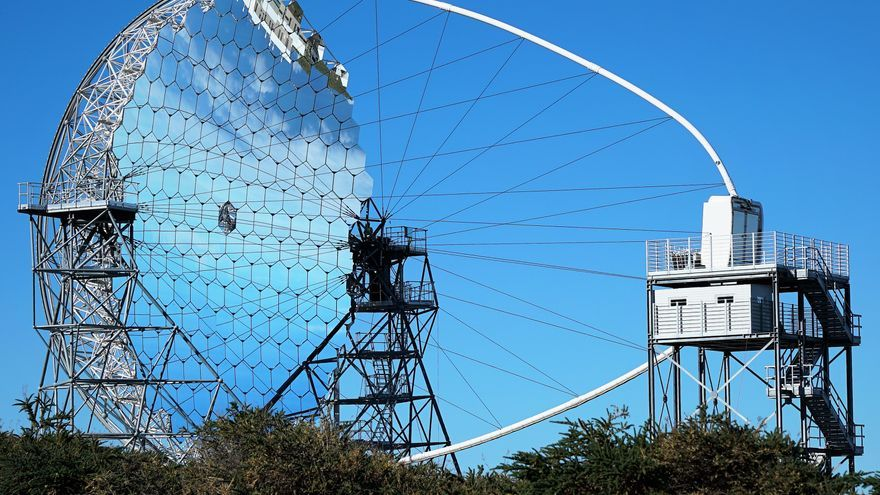 Telescopio LST-1 en el Observatorio del Roque de los Muchachos (ORM), en Garafía. Crédito:  Iván Jiménez Montalvo.