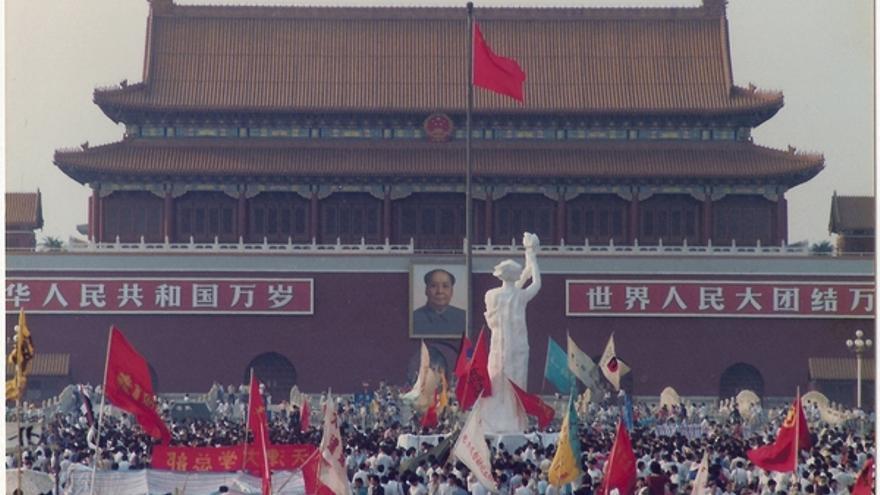 Plaza de Tiananmen durante las protestas, 1989 © Hong Kong Alliance