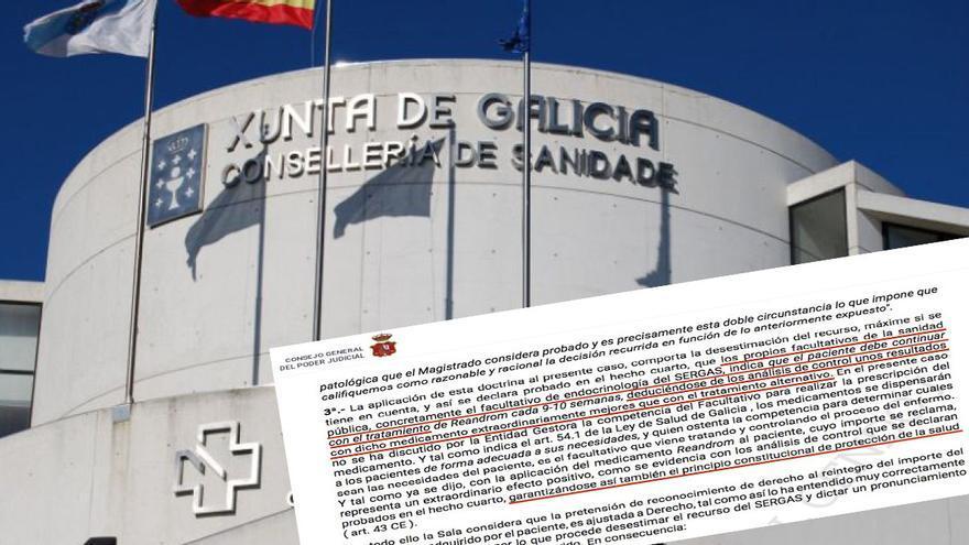 Sede de la Consellería de Sanidade de la Xunta y fragmento de la sentencia