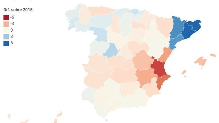 Cómo ha cambiado la participación en las municipales a las 18h, por provincias