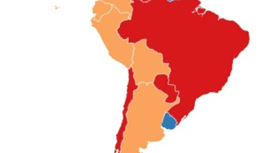 Mapa sobre la legislación del aborto en América Latina