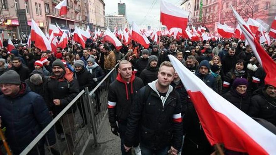 Manifestación nacionalista en Varsovia, en noviembre pasado. EFE