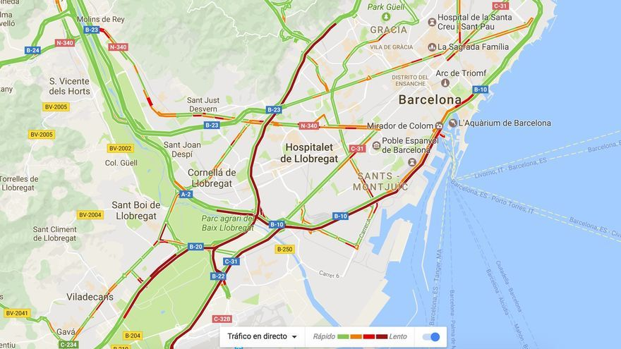 Mapa del tráfico en Barcelona durante la protesta de los taxis
