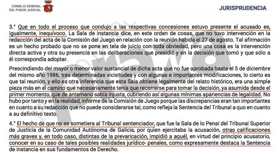 Fragmento de la sentencia del Supremo contra Barreiro Rivas por el juego de boletos