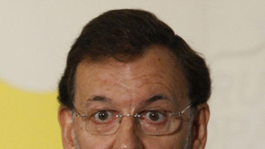 Primer plano de Mariano Rajoy en unos desayunos informativos