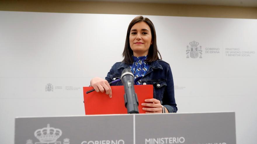 Carmen Montón en el acto en el que ha dimitido