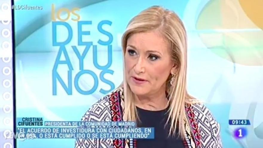 """Cifuentes descarta adelantar elecciones y acusa a Cs de tratar de """"crecer electoralmente a costa del PP"""""""