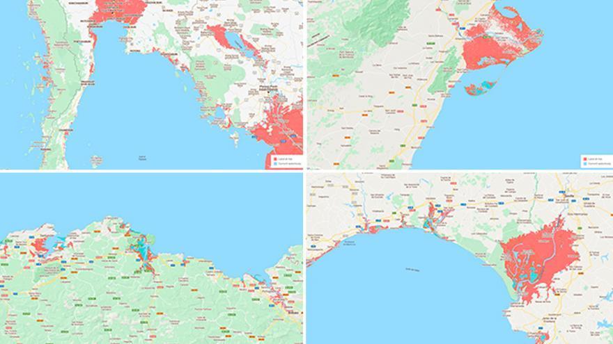 Mapa de riesgo. En el sentido de las agujas del reloj: Golfo de Tailandia, delta del Ebro, sudoeste de la Península Ibérica y Costa Cantábrica.