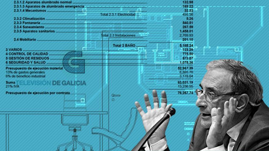 El director de la CRTVG, Alfonso Sánchez Izquierdo, y los planos de remodelación de su despacho