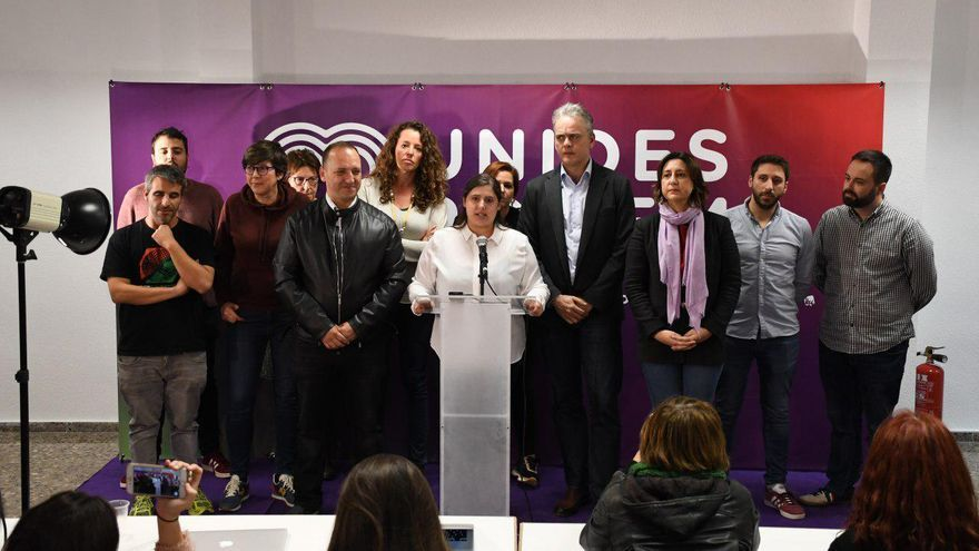 Los dirigentes de Unides Podem en la sede valenciana