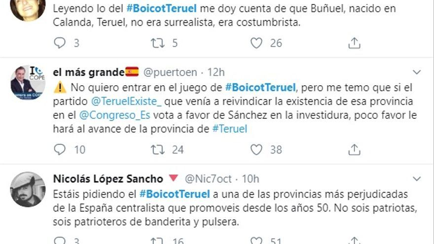 A favor y en contra de #BoicotTeruel