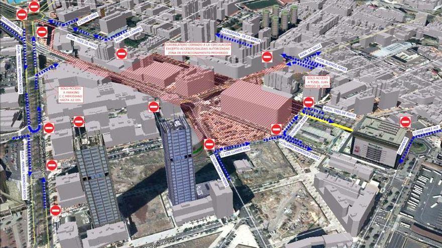Plano sobre las modificaciones de tráfico (en azul la circulación de vehículos y en amarillo la eliminación de vehículos) / Imagen cedida
