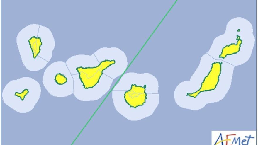 Mapa de la Aemet del aviso de riesgo por calima.