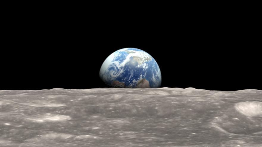 Recreación  a partir de las imágenes en HD captadas por la sonda LRO de una de las míticas fotos que plasman la salida de la Tierra vista desde la Luna que fueron tomadas por la Apolo 8
