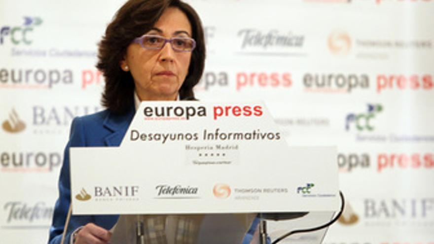 Rosa Aguilar en los desayunos de Europa Press