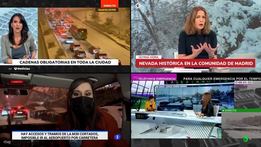 La gran nevada del siglo en la TV: presentadores atrapados y programación especial