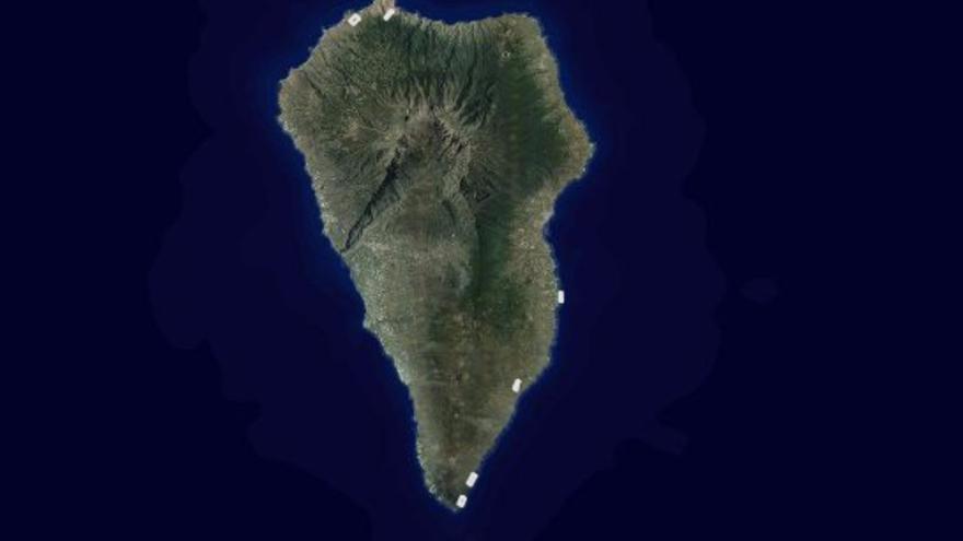 Ubicación de los seis parques eólicos de La Palma. Imagen captada del visor IDECanarias .