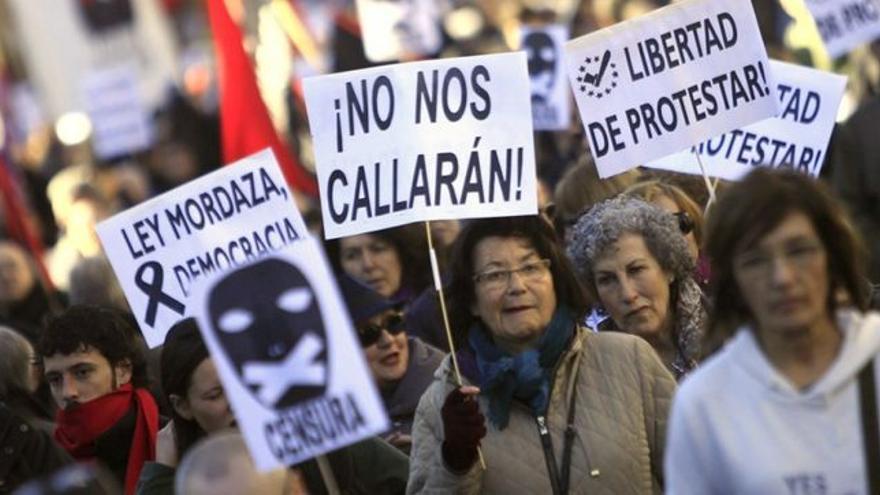 Manifestación contra la Ley Mordaza convocada por las Marchas por la Dignidad. EFE