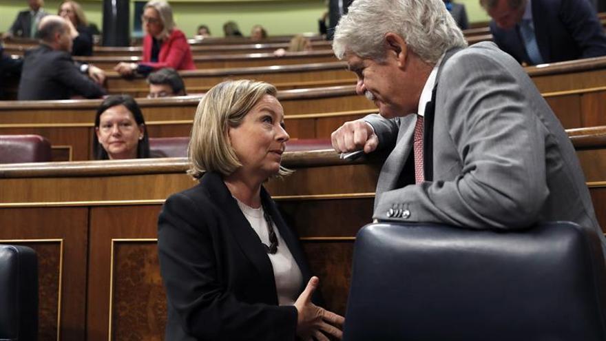 El ministro de Asuntos Exteriores, Alfonso Dastis (d), conversa con la diputada de Coalición Canaria, Ana Oramas