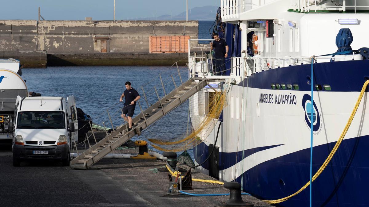 El buque oceanográfico Ángeles Alvariño, atracado en el muelle de Santa Cruz de Tenerife