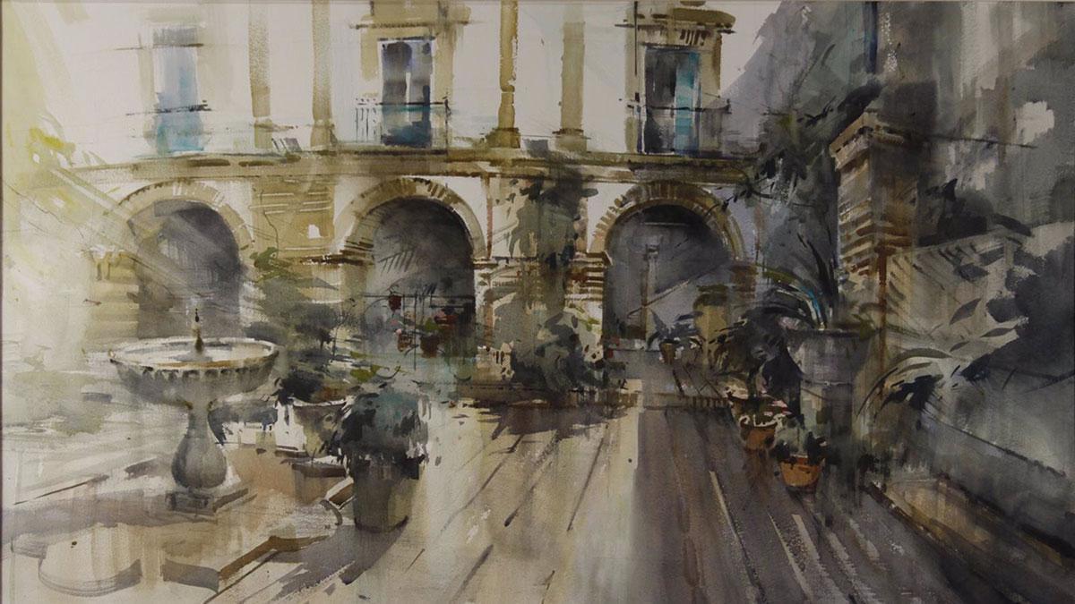 La obra con la que el granadino Adrián Marmolejo ha ganado el concurso de pintura 'Córdoba y sus patios' de la Fundación Viana.