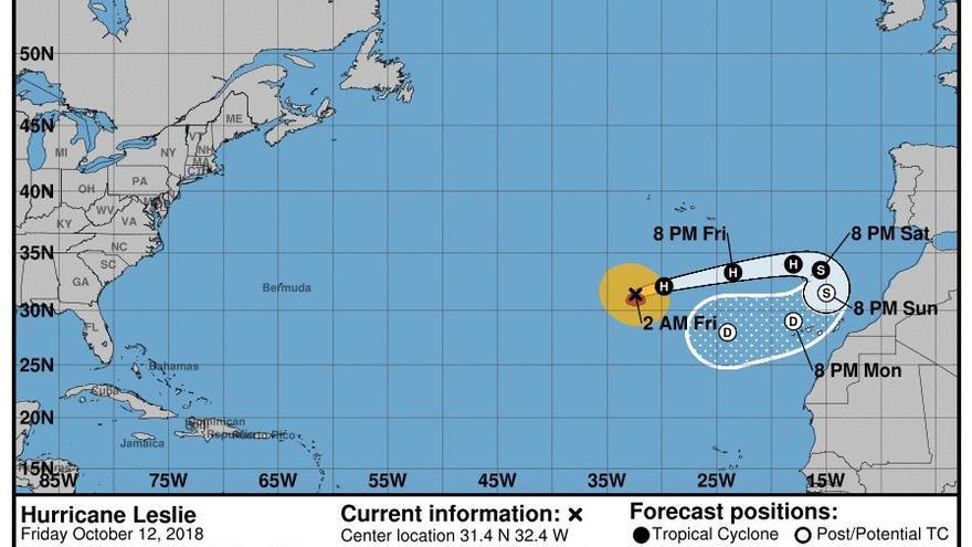 Mapa de la trayectorias actual del huracán 'Leslie'.
