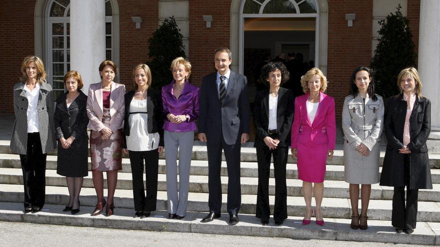 José Luis Rodríguez Zapatero y las ministras de su gobierno tras las elecciones de 2008.